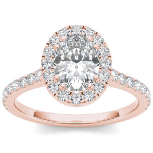 Adelaide halo engagement ring in rose gold by SJ Gems
