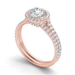 Amelie halo engagement ring in rose gold by SJ Gems