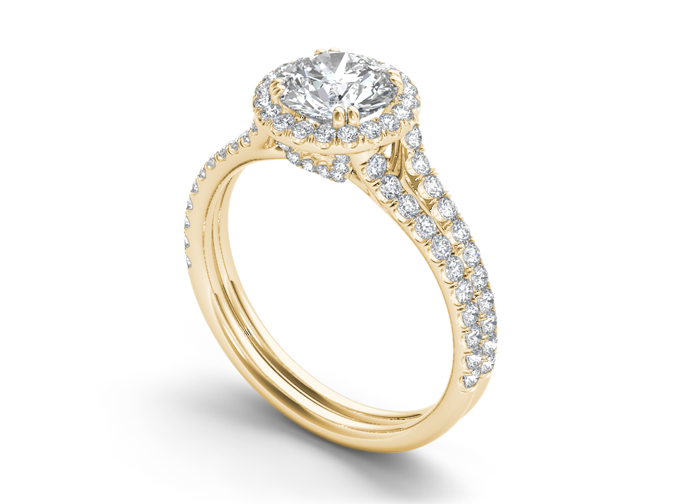 Amelie halo engagement ring in yellow gold by SJ Gems