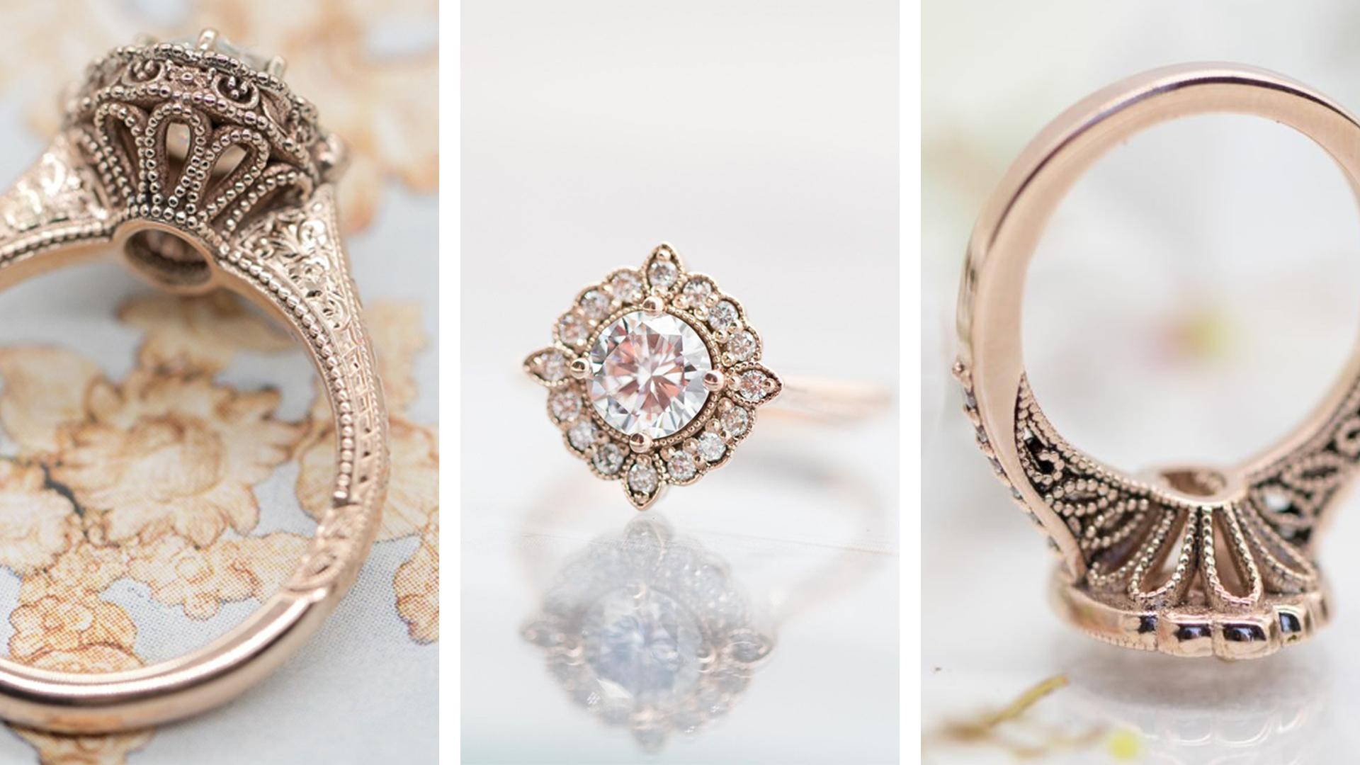 art nouveau style engagement rings