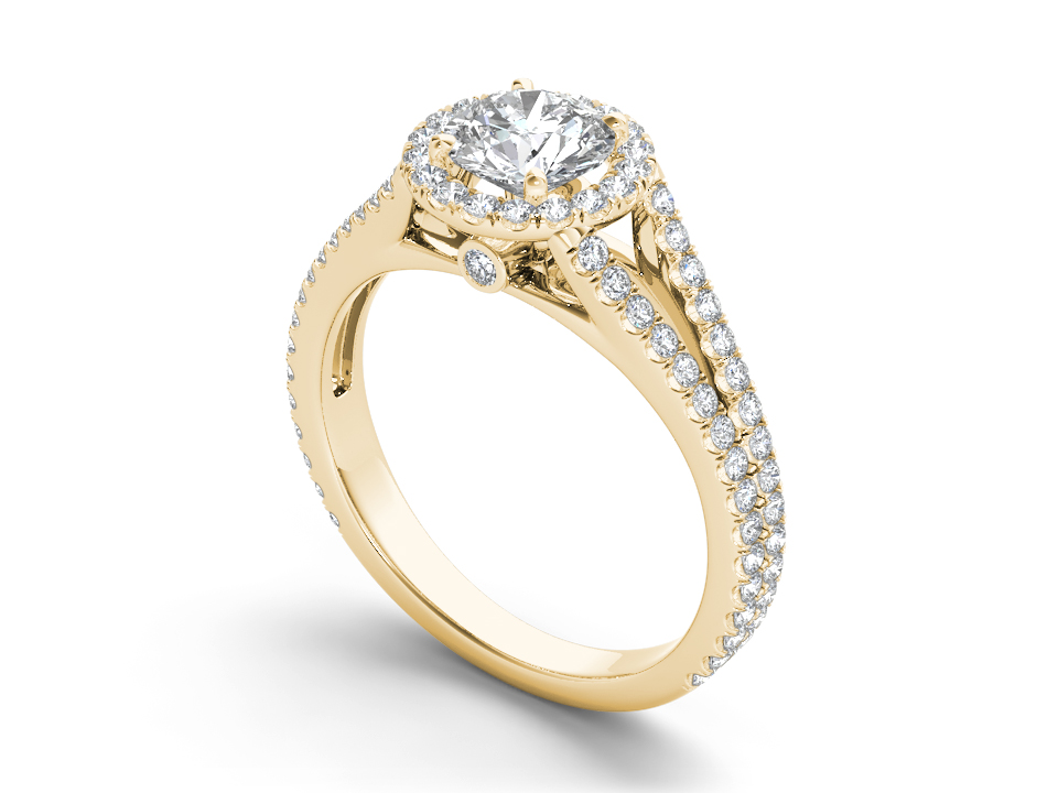 Celeste halo engagement ring in yellow gold by SJ Gems