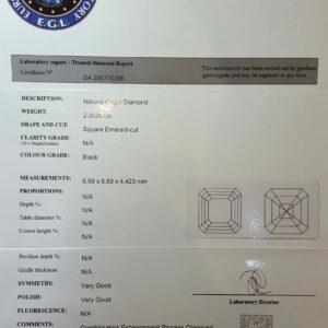 Certified Black Diamond 2.20ct Octagon