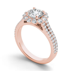 Delphine halo engagement ring in rose gold by SJ Gems