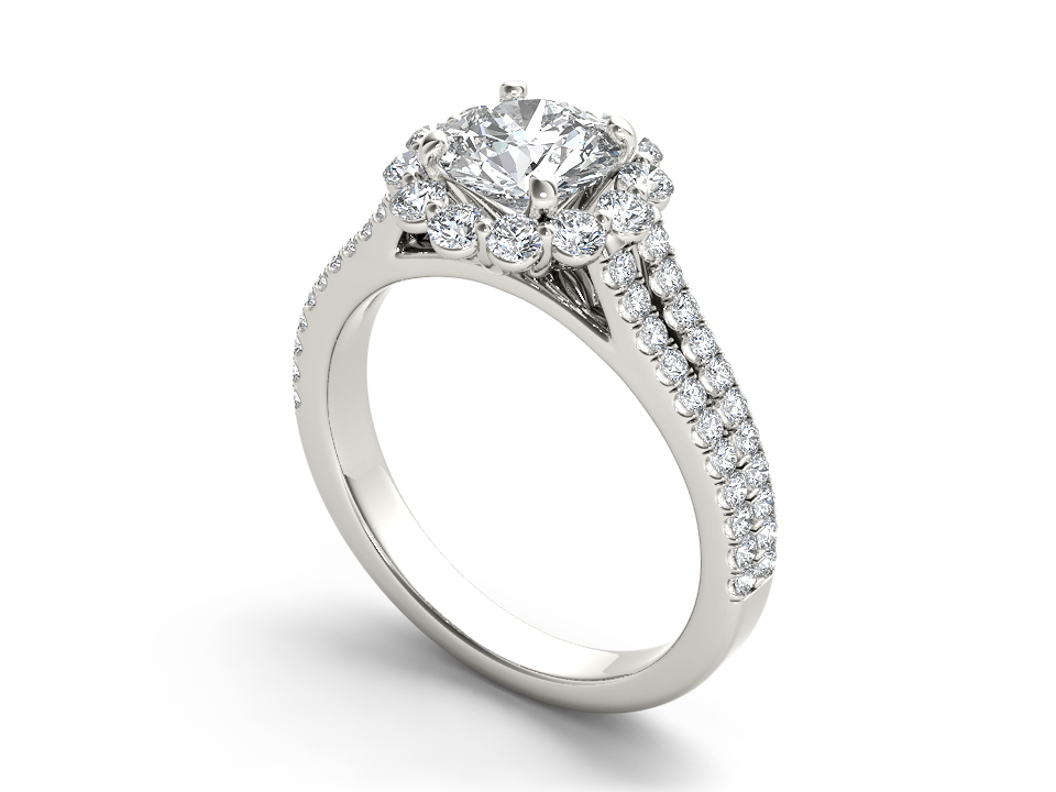 Delphine halo engagement ring in white gold by SJ Gems