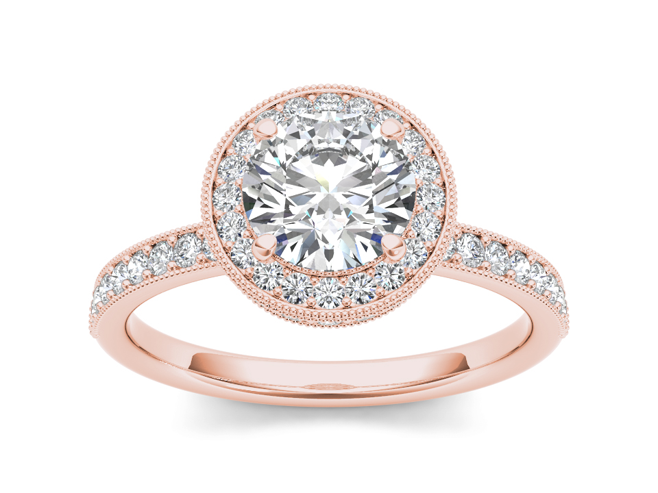 Elodie halo engagement ring in rose gold by SJ Gems