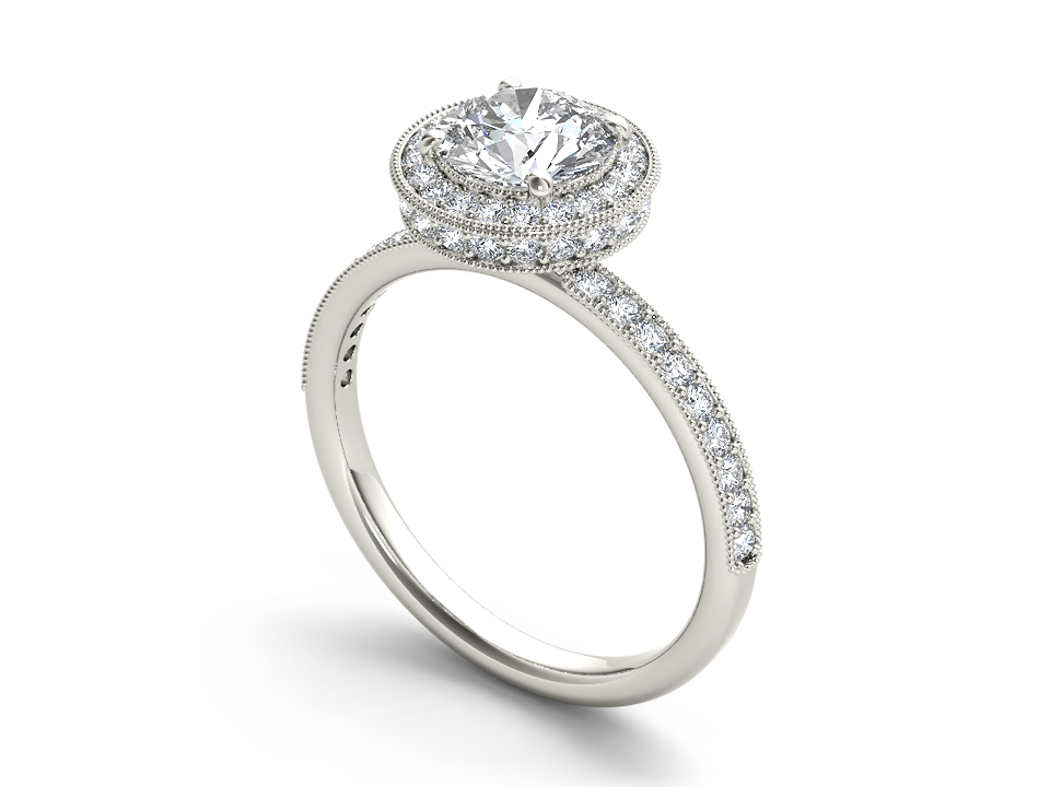 Elodie halo engagement ring in white gold by SJ Gems