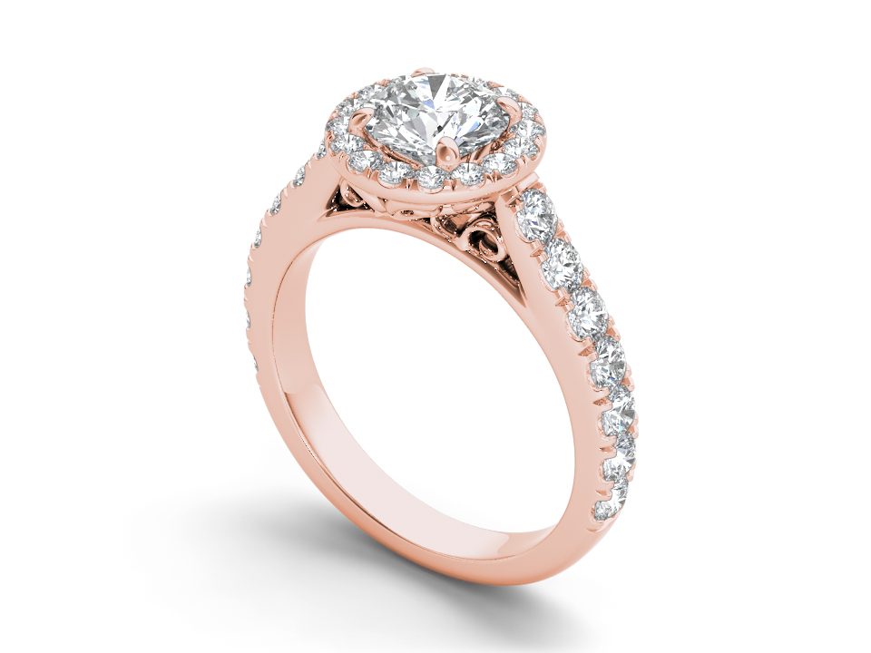 Eloise halo engagement ring in rose gold by SJ Gems