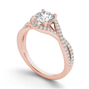 Giselle halo engagement ring in rose gold by SJ Gems