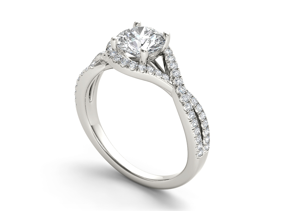 Giselle halo engagement ring in white gold by SJ Gems