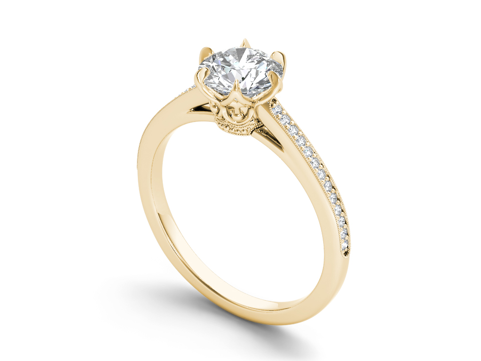Lilou solitaire engagement ring in yellow gold by SJ Gems