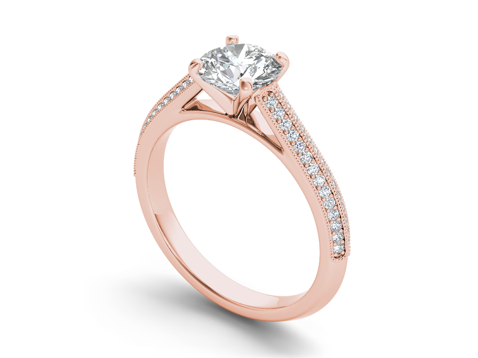 Lucie solitaire engagement ring in rose gold by SJ Gems