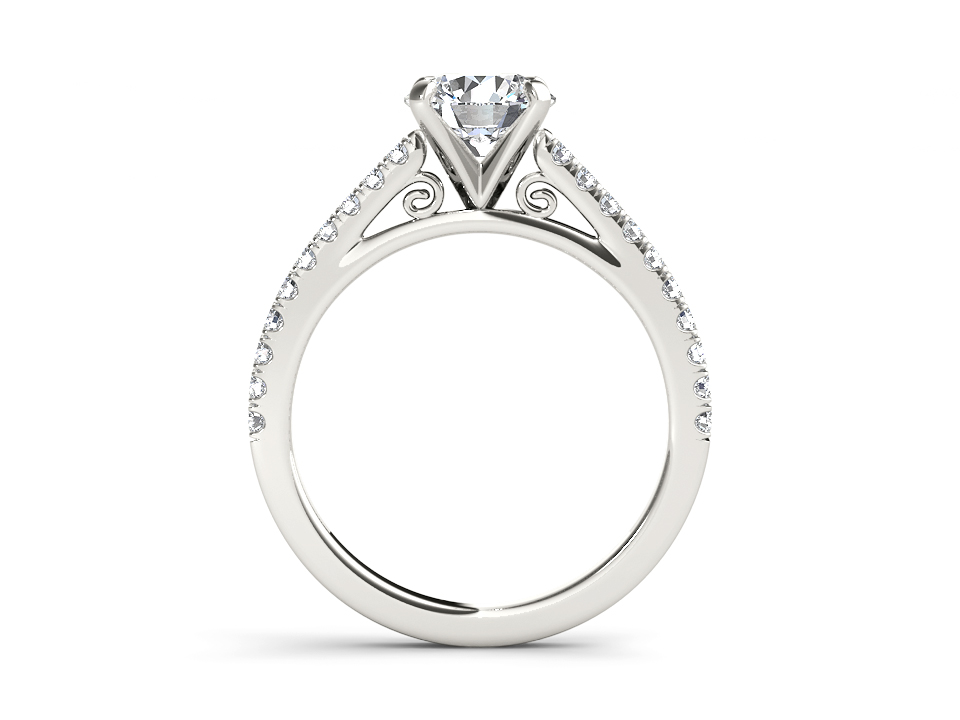 Meline solitaire engagement ring in white gold by SJ Gems