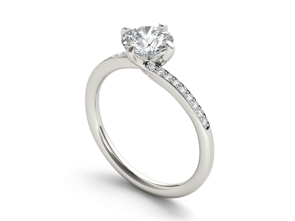Noemie solitaire engagement ring in white gold by SJ Gems