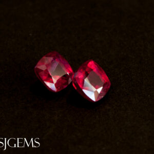 Certified Mozambican Ruby Pair 3.21tcw Cushion