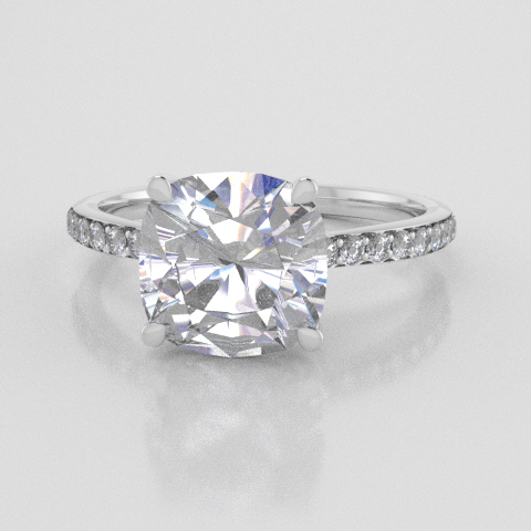 Solitaire Cushion Accent White Gold