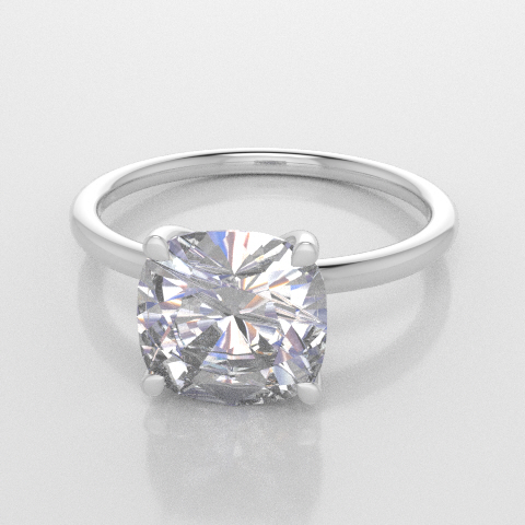 Solitaire Cushion White Gold