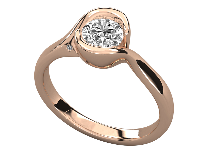 Philomel solitaire engagement ring in rose gold by SJ Gems