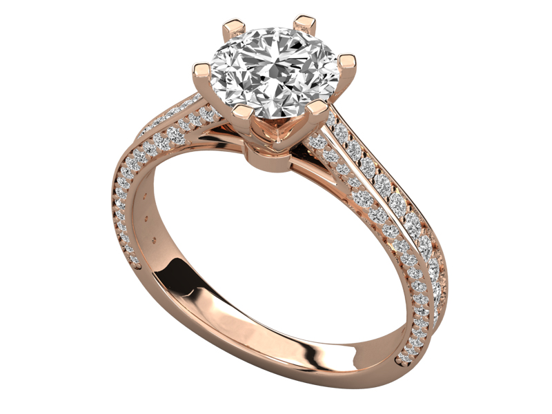Salomé solitaire engagement ring in rose gold by SJ Gems