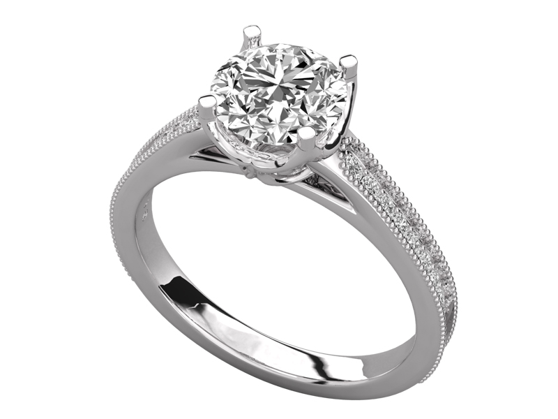 Shion solitaire engagement ring in white gold by SJ Gems