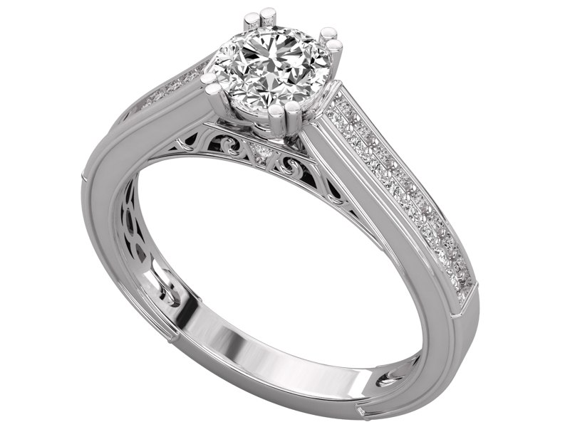 Signy solitaire engagement ring in white gold by SJ Gems