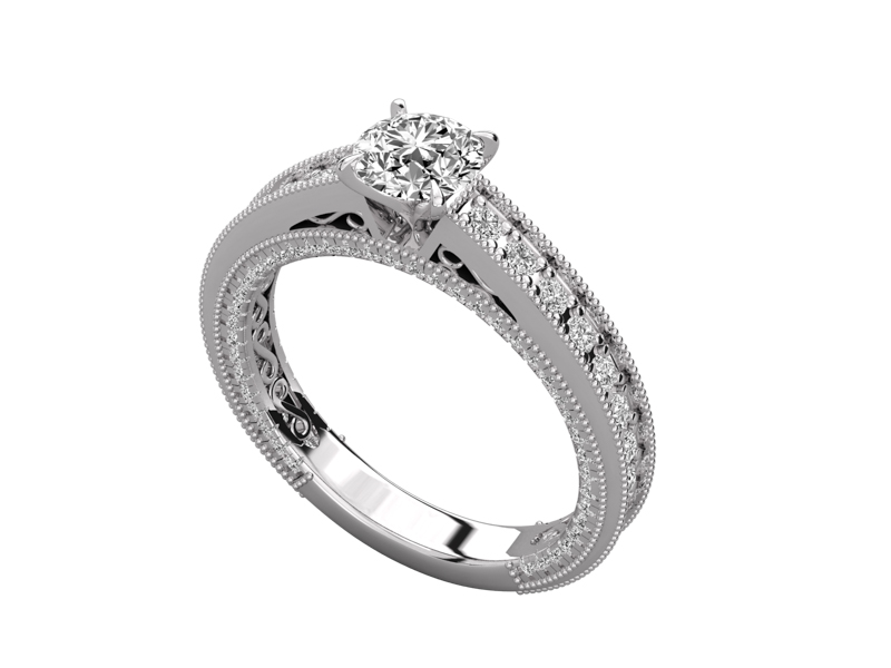 Solange solitaire engagement ring in white gold by SJ Gems