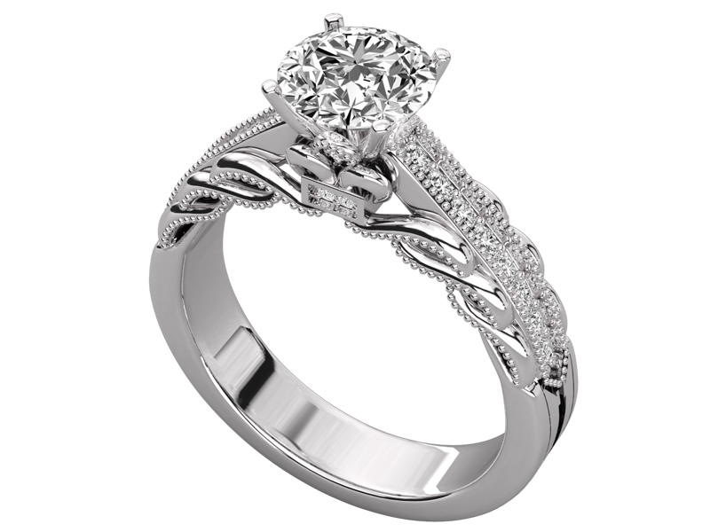 Soraya solitaire engagement ring in white gold by SJ Gems