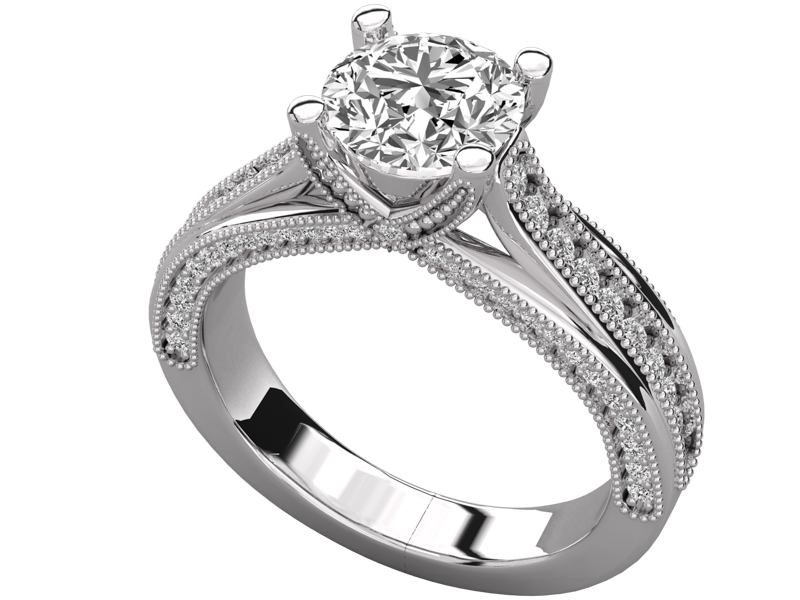 Valdís solitaire engagement ring in white gold by SJ Gems