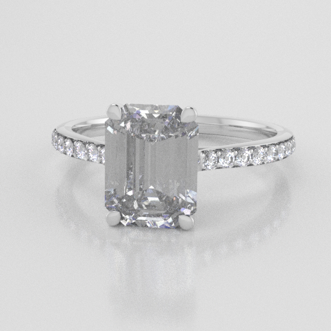 Solitaire Octagon Accent White Gold