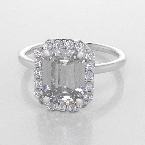 Solitaire Octagon Halo White Gold