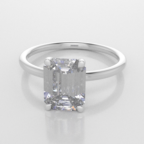 Solitaire Octagon White Gold