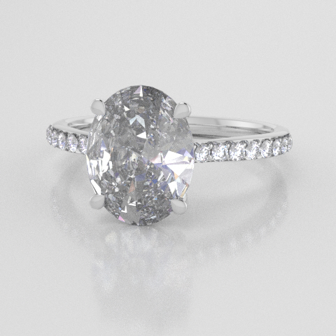 Solitaire Oval Accent White Gold