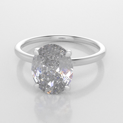Solitaire Oval White Gold