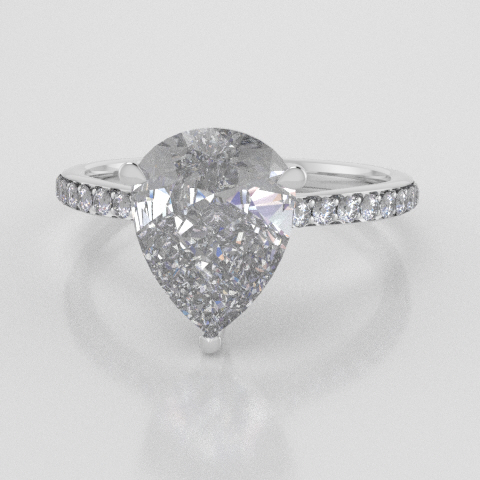 Solitaire Pear Accent White Gold