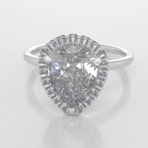 Solitaire Pear Halo White Gold