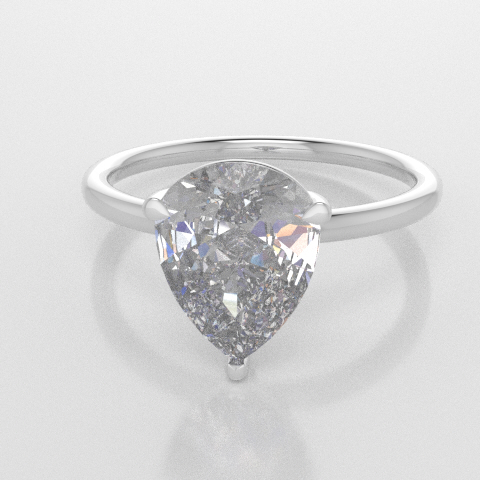 Solitaire Pear White Gold