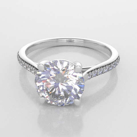 Solitaire Round Accent White Gold