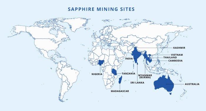 sapphire mining sites on world map